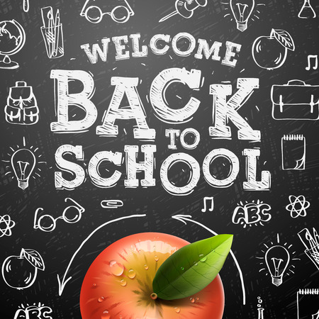 blackboard: Welcome back to school sale background with red apple, vector illustration.