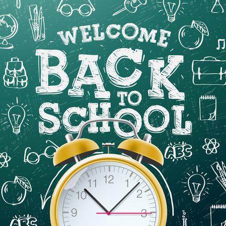 Bienvenido de nuevo a la escuela de fondo la venta con el reloj de alarma, ilustración vectorial.