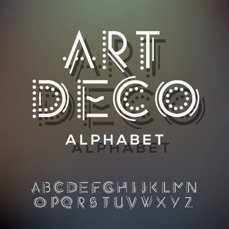 アルファベットの手紙のコレクション、アールデコ様式、ベクトル イラスト  イラスト・ベクター素材