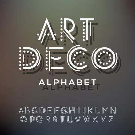 metalico: Colección Las letras del alfabeto, de estilo art deco, ilustración vectorial. Vectores