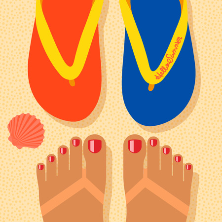 Hello summer - concept background, self shoot feet and flip-flop on the sand beach, selfie. Vector image. Vector