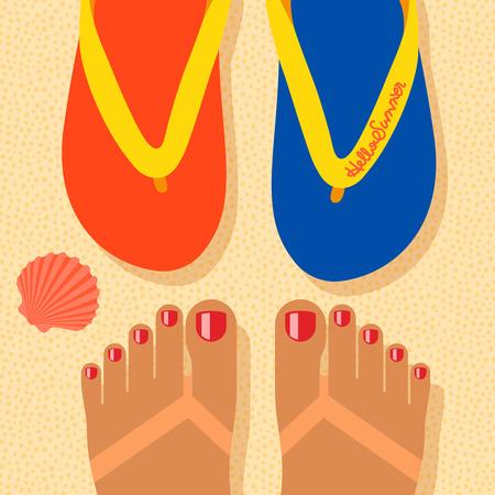sand beach: Hello summer - concept background, self shoot feet and flip-flop on the sand beach, selfie. Vector image. Illustration