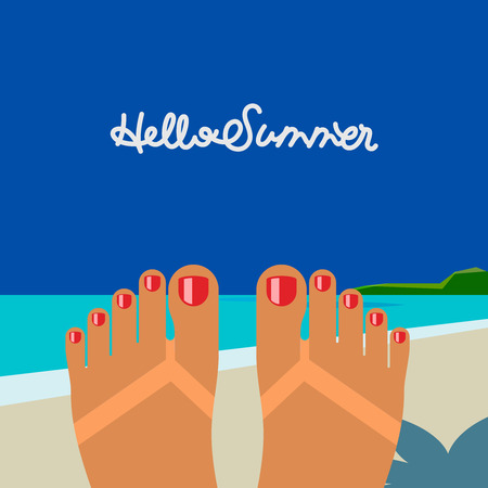 legs: Hello summer - concept background, self shoot female feet tanned on the beach selfie. Vector image.