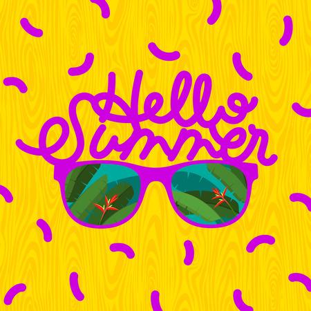 sunglasses reflection: Hello summer, sunglasses with tropical island reflection, illustration. Illustration