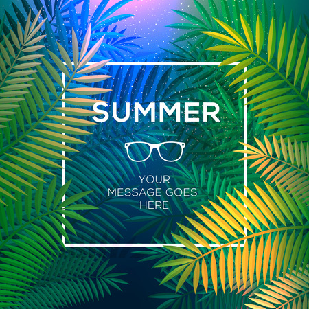 Summer tropical concept, tropical paradise with palm leaves, vector Eps10 image.