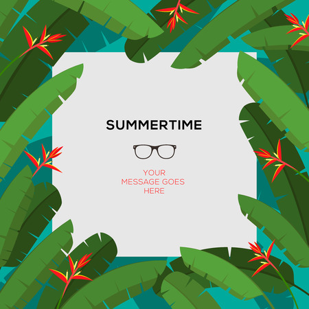 Summertime template, tropical paradise background with palm leaves and red Heliconia flowers, vector image. Vector