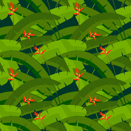 Tropical leaves of palm tree with red Heliconia flowers, seamless pattern Vector