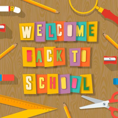 knutsel spullen: Welkom terug naar school achtergrond met school supplies. Woorden die door schaar van kleurrijke papier, collage papier ambachtelijke ontwerp snijden