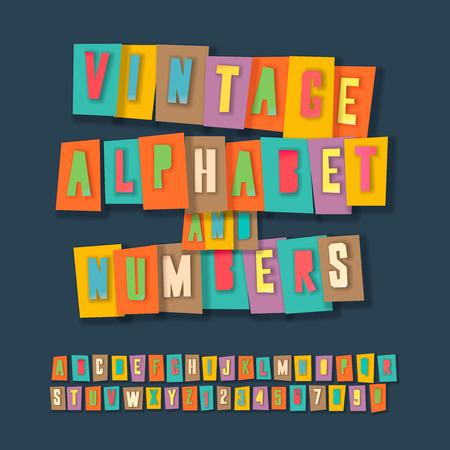 ビンテージのアルファベットと数字、カラフルなペーパー クラフト デザイン紙からはさみによって切り取る。