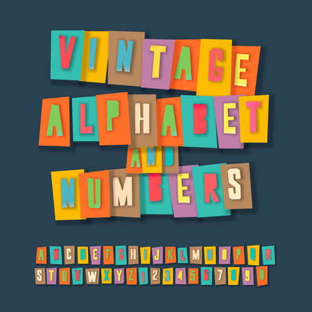 collage alphabet: Vintage alphabet and numbers, colorful paper craft design, cut out by scissors from paper.  Illustration