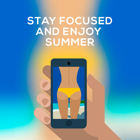 Beach concept, hand holding smartphone and make picture of a female backside in a yellow swimsuit. Vector
