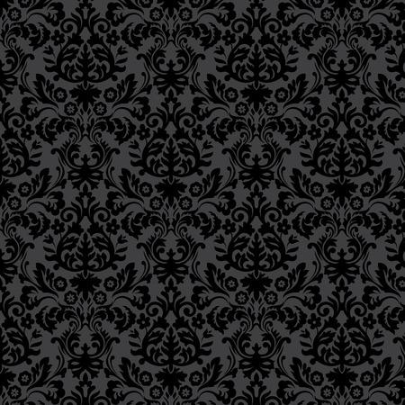 Zwart damast vintage bloemenpatroon, vector illustratie.