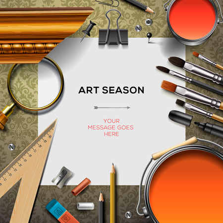 Art supplies template with artist tools, vector  illustration.