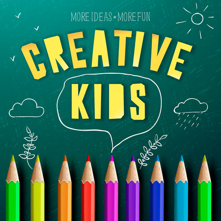 Concept of a creative kids, creative education, colorful pencils and chalk drawing doodles. Vector illustration. Vector