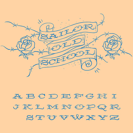 Old-school styled tattoo alphabet set, vector image. Vector