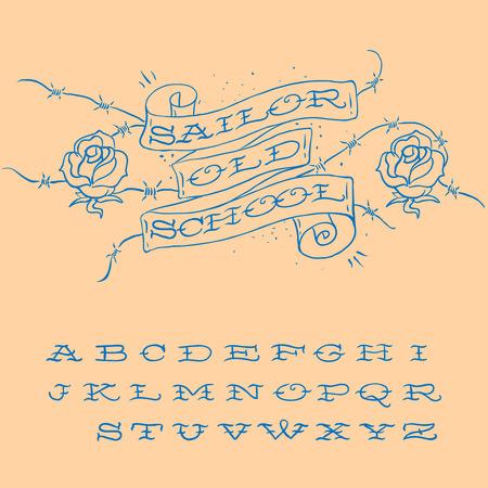 tatouage fleur: Old-school tatouage de style alphabet ensemble, vecteur d'image.