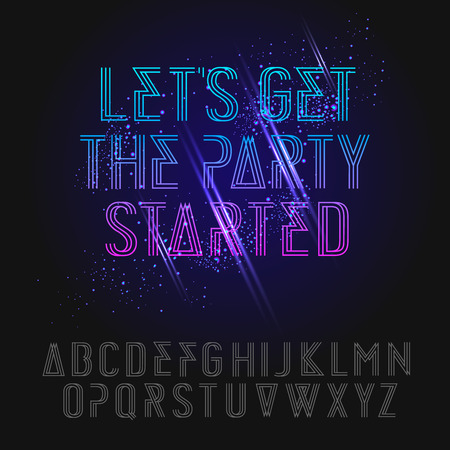 Neon party alphabet, vector illustration.