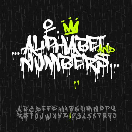 낙서 알파벳 및 숫자, 벡터 이미지.
