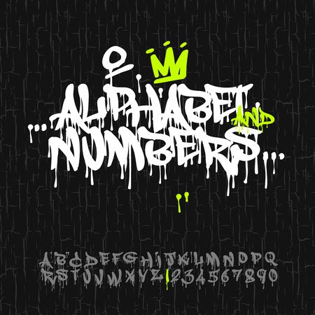 Graffiti-Alphabet und Zahlen, Vektor-Bild.
