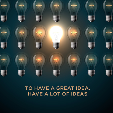 idea lamp: Creativity concept. Text - To have a great idea, have a lot of ideas, row of light bulbs background. Vector illustration.