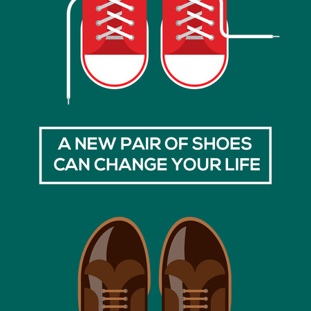 Concept of choices, a new pair of shoes can change your life. Vector eps10 illustration. Vector