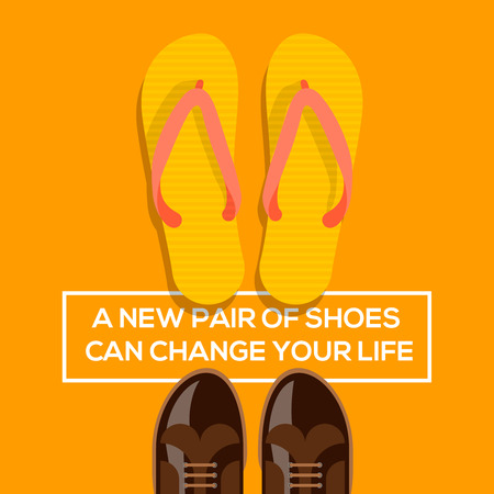 Concept of choices, a new pair of shoes can change your life. Vector illustration. Vector