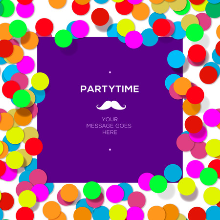 popper: Party time design template with confetti. Vector eps10 illustration.