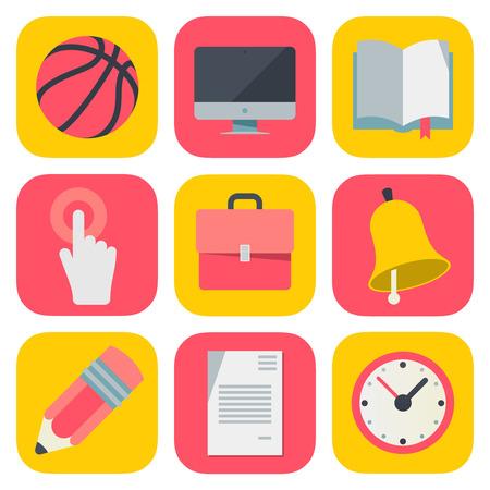sistema operativo: Iconos de la educaci�n limpias y simples para m�viles OS Vectores