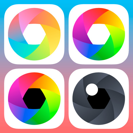 redesign: Simple flat camera objective icons for mobile