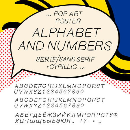 Comics pop art alphabet and numbers Vector