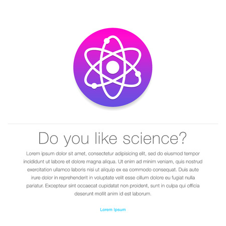 entered: Science icon  Atom symbol entered in round shape