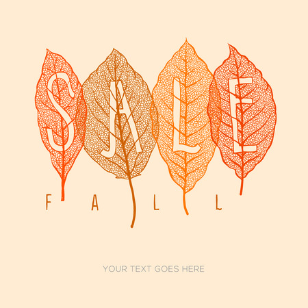 fall in love: Fall sale poster with dried leaves and simple text  Illustration