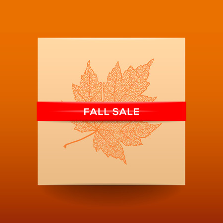 dried: Fall sale poster with dried leaves and simple text  Illustration