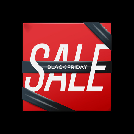 sell out: Sale red poster with ribbon Black Friday on the box, vector illustration.