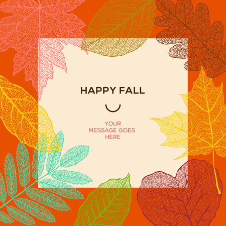 Happy fall template with autumn leaves and simple text, vector illustration.