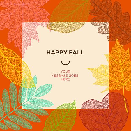 Glückliche Herbst Vorlage mit Herbstlaub und einfachen Text, Vektor-Illustration.