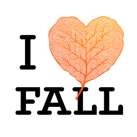 I love Fall - autumn sale poster with leaf heart shape and simple text on white background, vector illustration.