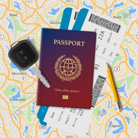 abroad: International passport, boarding pass, tickets with barcode and key on the map seamless background, vector illustration. Illustration