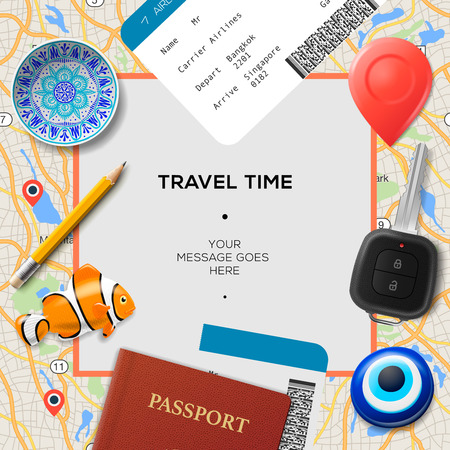 Travel time template. International passport, boarding pass, tickets with barcode, magnets and key on the map background, vector illustration.
