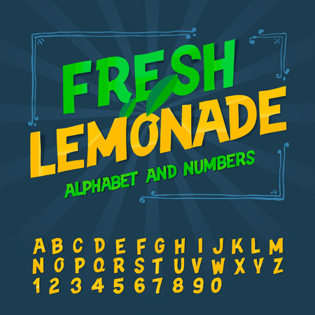 fresh: Alphabet and numbers - Fresh lemonade, vector image.