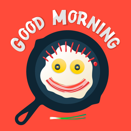 좋은 아침 - 사랑과 함께 재미있는 아침 식사, 기름에 튀긴 된 계란과 베이컨으로 만드는 웃는 얼굴 일러스트