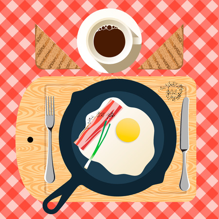 bacon love: Frying pan of breakfast with fried eggs, bacon