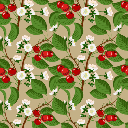 Seamless pattern with cherry berries and blossom Vector