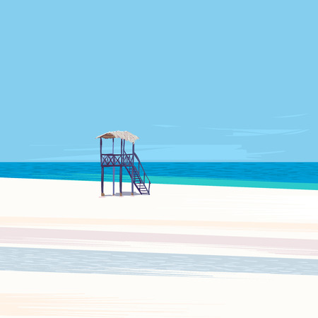 lifeguard tower: Lifeguard tower on a white sand beach with blue sky and sun, vector illustration.