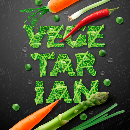Vegetarian design template, with fresh vegetables carrot, asparagus, beans, pepper, onion and letters made from leaf, vector illustration. Vector