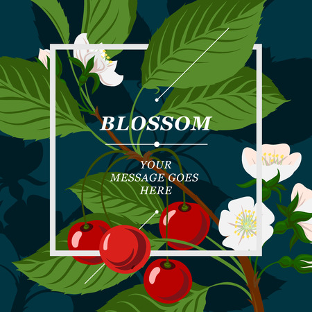 Floral background with cherry berries and cherry blossom branch, vector illustration. Vector