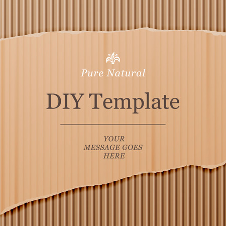 corrugated box: Diy template with cardboard texture background, vector illustration.