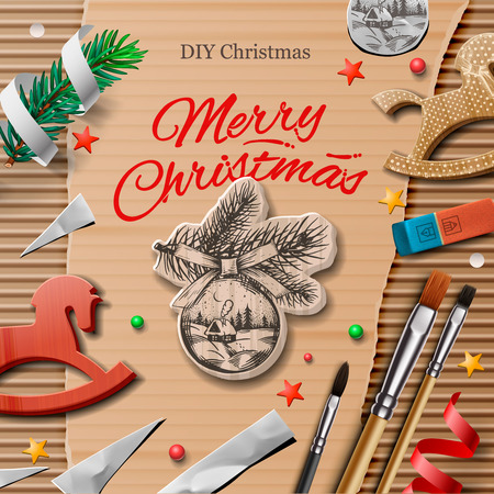 Homemade wrapped christmas presents with art and craft elements, vector illustration.