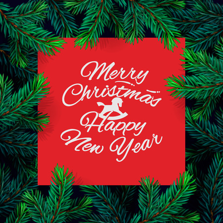 Christmas frame template with fir branch. Christmas card, poster, banner. Vector illustration.