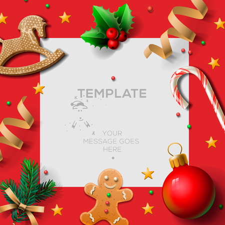 Merry Christmas festive template with gingerbread men and Christmas decoration, vector illustration.